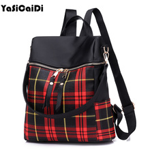 YASICAIDI PU Leather Women Backpack Patchwork School Backpack For Teenager Girl Plaid Double Zipper Shoulder Bags Mochila Sac