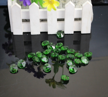 free shipping 100PCSLOT, 14mm colored crystal glass octagon beads in 2 holes