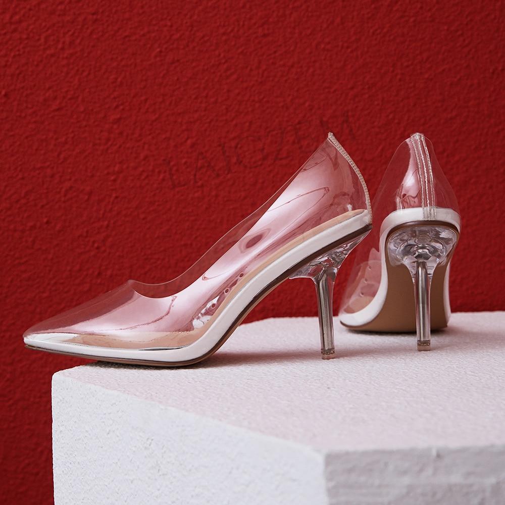 LAIGZEM Kim Kardashian Cinderella Glass Heels Pumps Transparent 8CM Wedding Dress Shoes Woman Marriage 2019 Large Size 33-41
