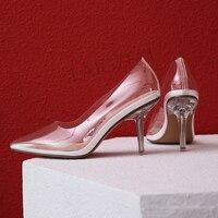 LAIGZEM Kim Kardashian Cinderella Glass Heels Pumps Transparent 8CM Wedding Dress Shoes Woman Marriage 2019 Large Size 33 41