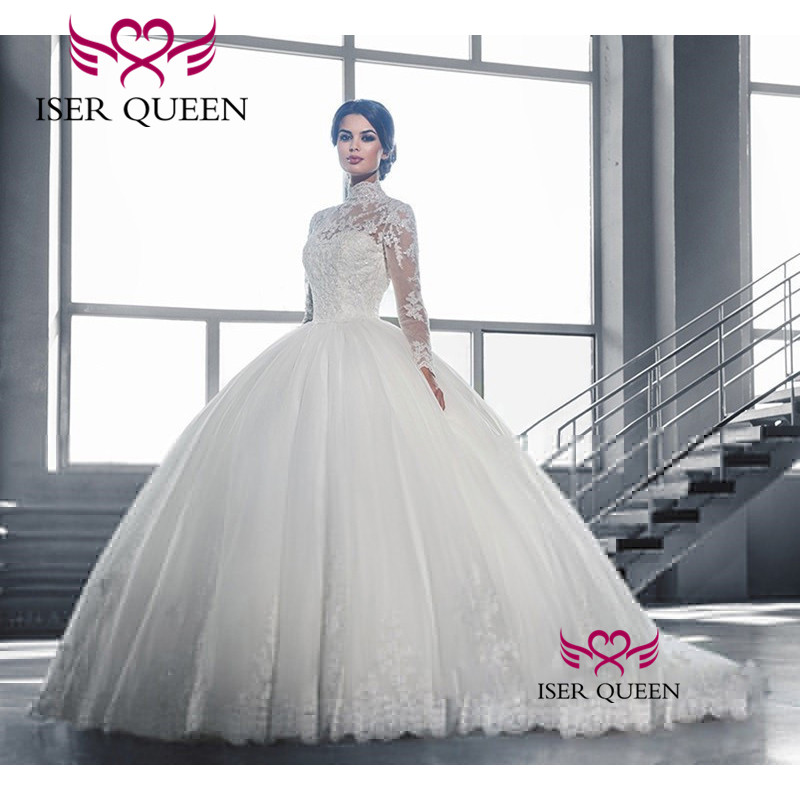 Elegant High Neckline See through Sleeves with Embroidery Bright Sequined Wedding Dresses Button Ball Gown Tiered Sheer w0019