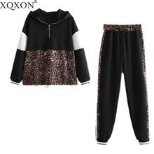 Set female 2019 Vintage Leopard Print Patchwork Hooded Sweatshirts And Leopard Side Stripe Jogging Pants suits
