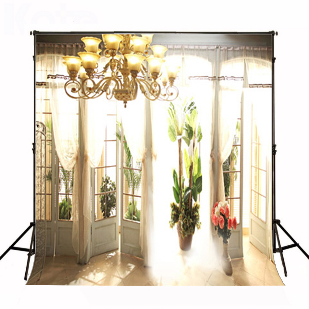 Wedding Photography Backdrops Sun Window Tile Floor Party Photo Background Pink Flower Chandelier Backgrounds for Photo Studio