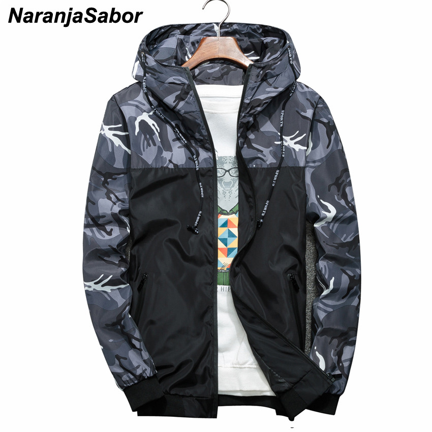 NaranjaSabor Spring Autumn Men's Jackets Camouflage Military Hooded Coats Casual Zipper Male Windbreaker Men Brand Clothing N434 2