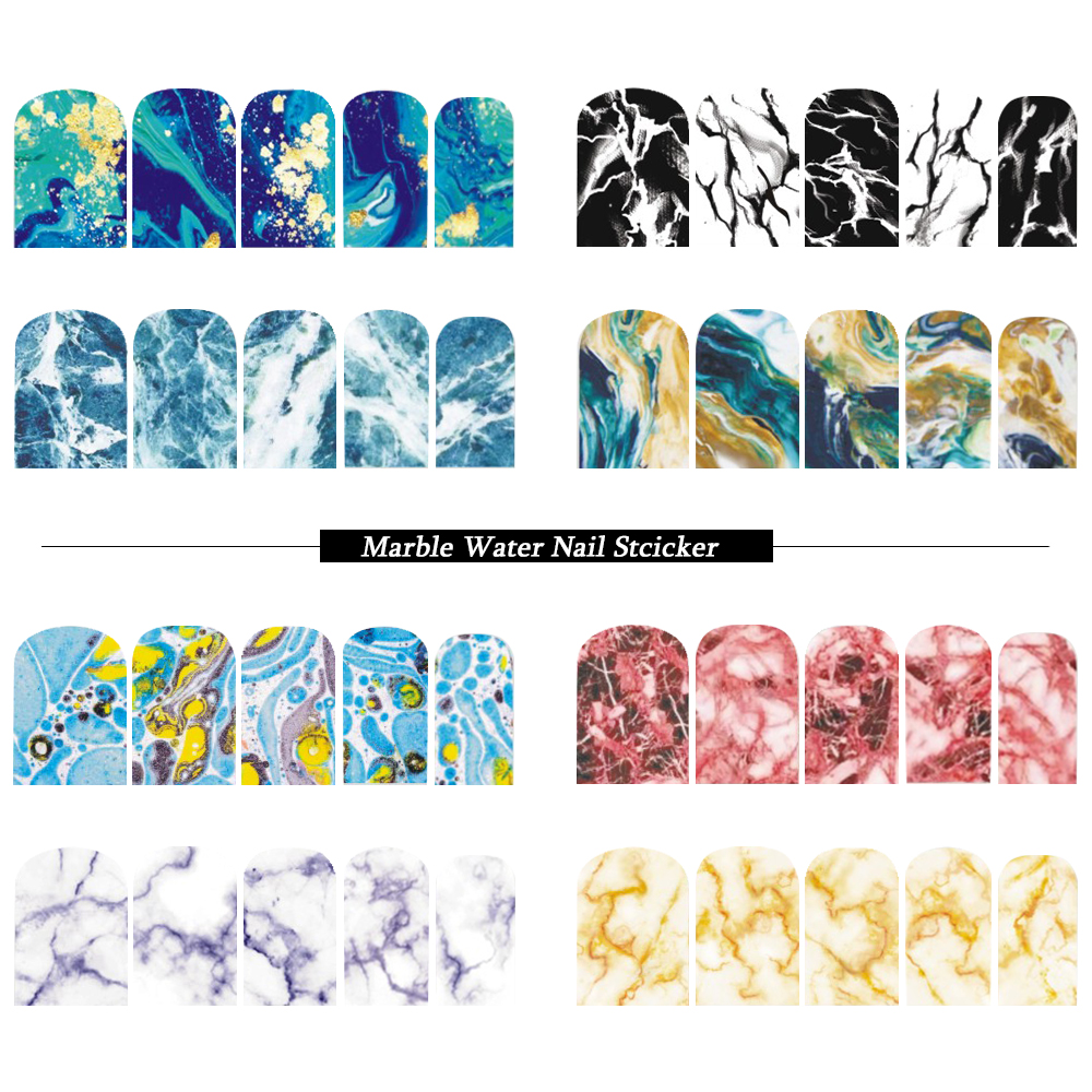 12 Designs Marble Designs Nail Art Water Decals Transfers Sticker Set Decoration Manicure Full Wraps Color Tips SABN613-624 free shipping new 2017 hot 13 single pure color series classic collection manicure nail polish strips nail wraps full nail sheet