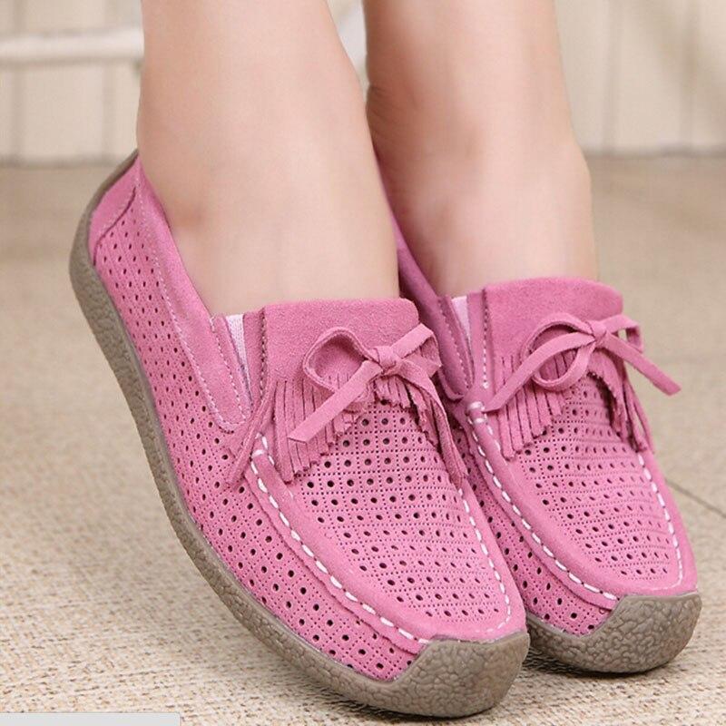 Z111 1 En Femmes Chaussures Vide Main Gland Cousu Appartements Fil Daim Cuir 2 D'été Bateau Vache Véritable 4 Femme Mocassins 3 R45L3Aj