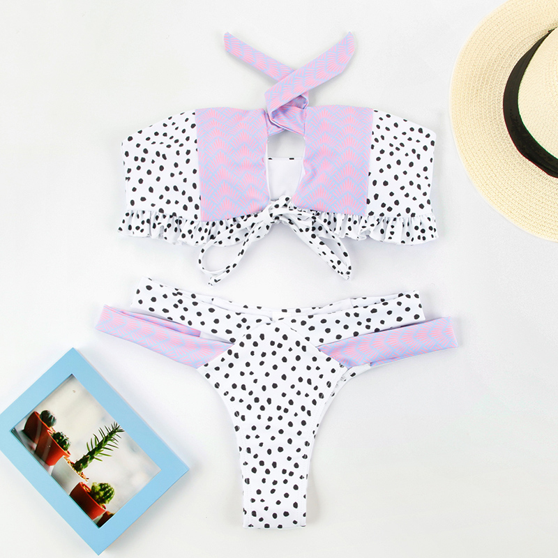 HTB15uOteR1D3KVjSZFyq6zuFpXav Miyouj Floral Bikini Bandage Bow Swimsuit Push Up Swimwear Women Print Biquini Feminino 2018 Bathing Suit Monokini Bikini Set