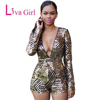 Gold Sequin Jumpsuit Shorts Playsuit Women Romper 2016 Fashion Long Sleeve Deep V Neck Bodycon Sexy