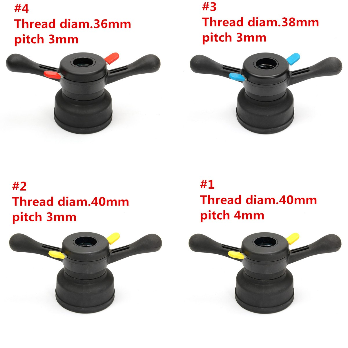 Wheel Balancer Tire Change Tool Quick Release Wing Nut /& Pressure Cup Hub Shaft Nut 40mm// 38mm// 36mm Wheel Balancer Thread Diameter 40mm, Pitch 4mm