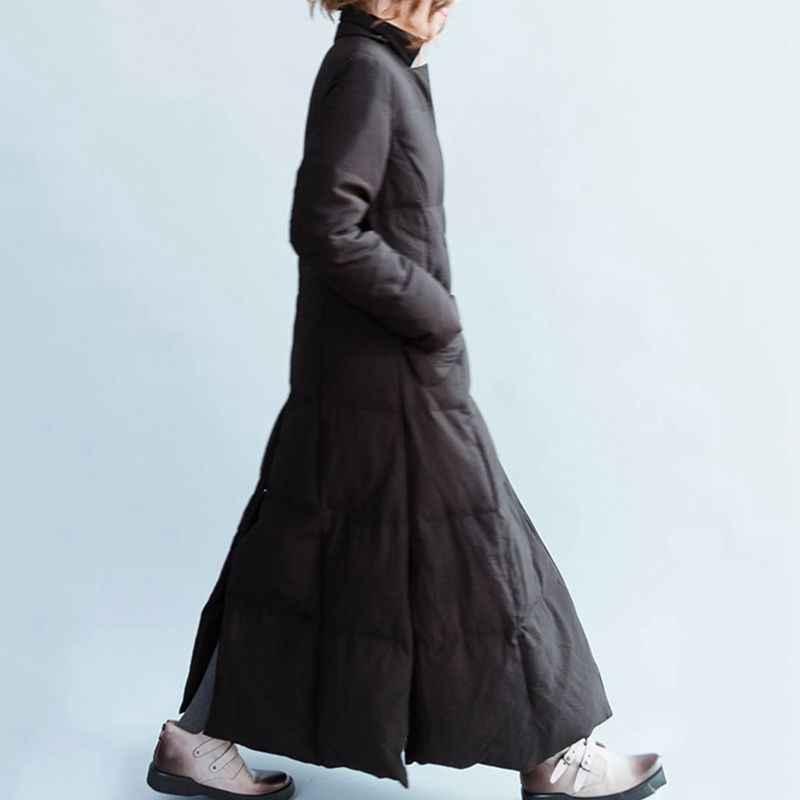 Высокое качество женский пуховик длинный 2019 зима новое тонкое женское пальто толстое теплое Женское пальто Ретро стоячий воротник парка LY285