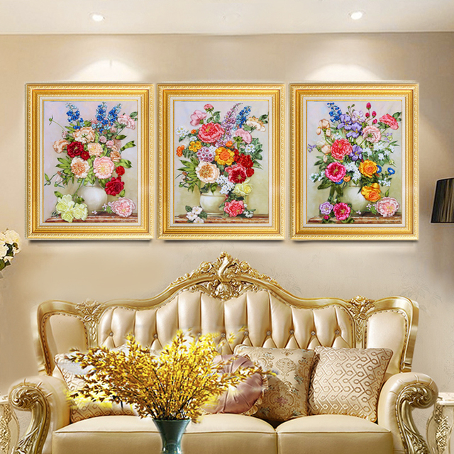 Ribbon Embroidery Kit Flourishing Diy Handmade Three Dimensional Materials Living Room