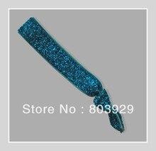 "Elastic Turquesa Glitter Cabelo Ribbon Ties 5/8 ""Fita De Veludo Metálico Laço de Cabelo Laço de Cabelo Das Mulheres"