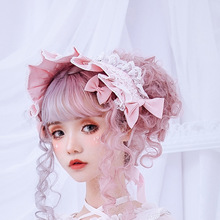 Czas popołudniowy ~ słodka marszczona opaska Lolita z koronki