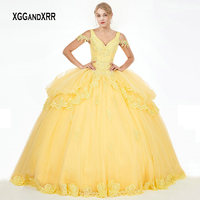 Quinceanera Dress For 15 16 Yellow Ball Gown Party Dresses 2019 V Neck Crystals Appliques Mint Blue Organza Long Prom Gown