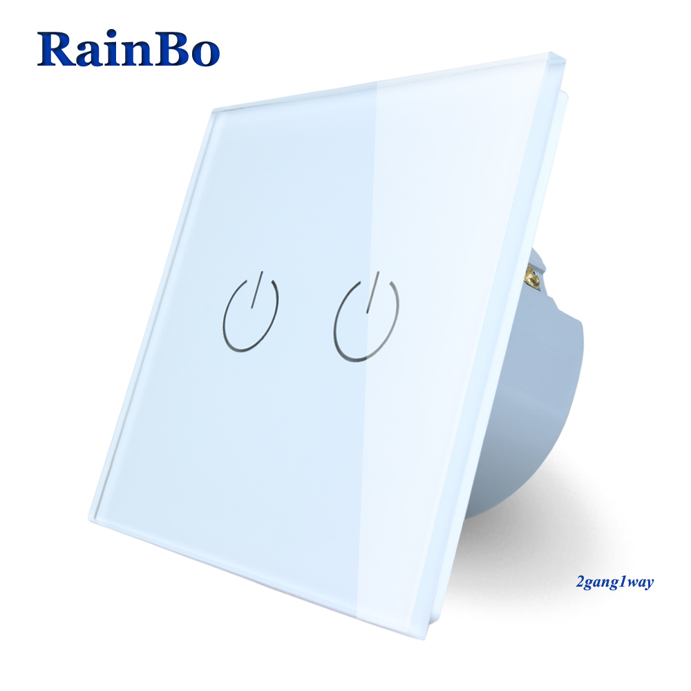 RainBo Brand  New Crystal Glass Panel wall switch EU Standard 110~250V Touch Switch Screen Wall Light Switch 2gang1way A1921W/B