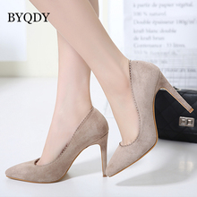BYQDY Elegant PU Leather High Heels Women Pumps Pointed Toe Work Pump Stiletto Woman Shoes Wedding Shoes Office Career Pumps недорого