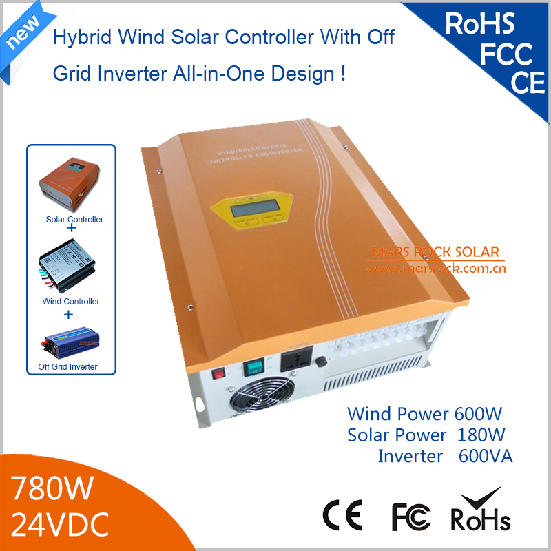 780w 24V Hybird Wind Solar Controller Inverter 600W Wind + 180w Solar with Pure Sine Wave Inverter 90% Efficiency Yellow 2017 new arrival 600w max 800w wind generator with 600w wind charge controller and 1000w pure sine wave inverter