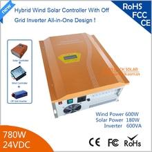 780 Вт 24 В Hybird Солнечный Ветер Инвертор 600 Вт Ветер + 180 Вт с Солнечной Чистая Синусоида инвертор 90% Эффективность Желтый