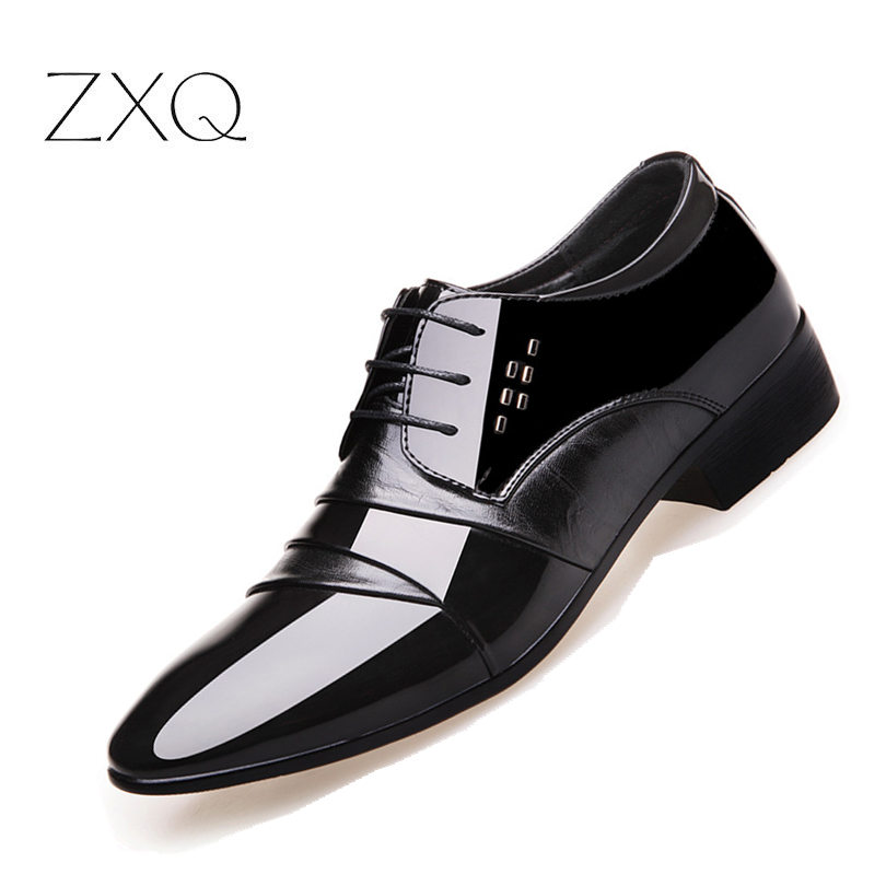 2017 Oxford Shoes For Men Office Shoes Patent Leather Business Dress Shoes Men Flats Zapatos Hombre Black Derby Shoes