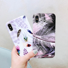 Print Feather Phone Case For iPhone 6 6S 7 8 Plus X XR XS MAX 11 Pro Max Soft Silicone TPU Shell Marble Back Cover Cases Coque цена и фото