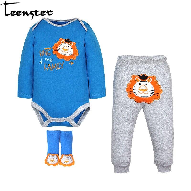 Teenster  Baby Girl Boy Clothes Long Sleeve Bodysuit&pants&Socks 3pcs/set Cartoon Lion Bear Printed Newborn Clothing