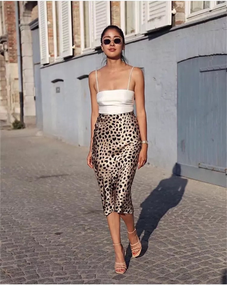 Hot Sale High Waist Leopard Midi Skirt Female Hidden Elasticized Waistband Silk Satin Skirts Slip Style Animal Print Skirt Women 7