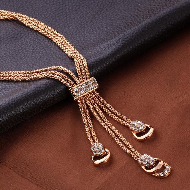 17KM Rose Gold Color Crystal Necklace Earring Bracelet Ring Set Rhinestone New Simple Party Dress Jewelry Sets For Women 5