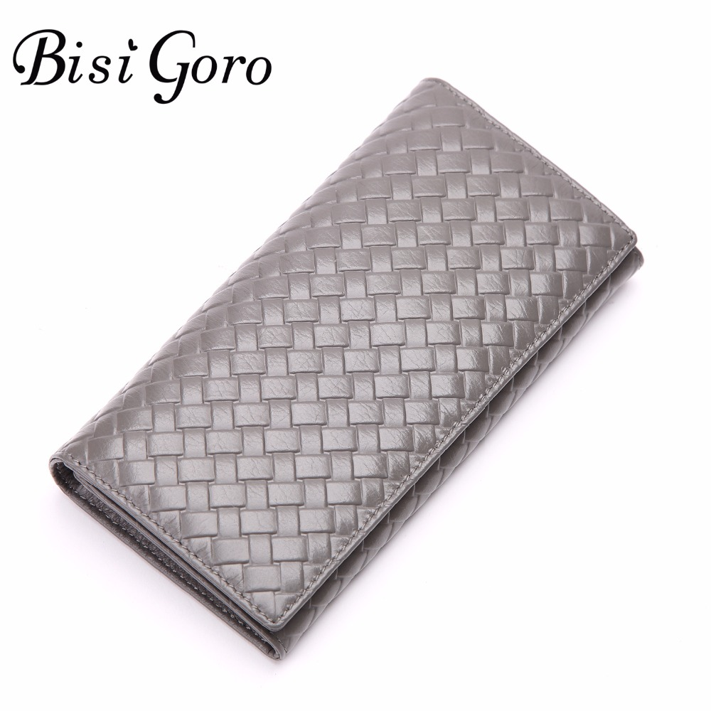 Bisi Goro Multifunctional Purse Cowhide Leather Women Wallet Knitting Long Thin Purse