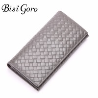 Bisi Goro 2017 Multifunctional Purse Cowhide Leather Women Wallet Knitting Long Thin Purse Multiple Cards Holder