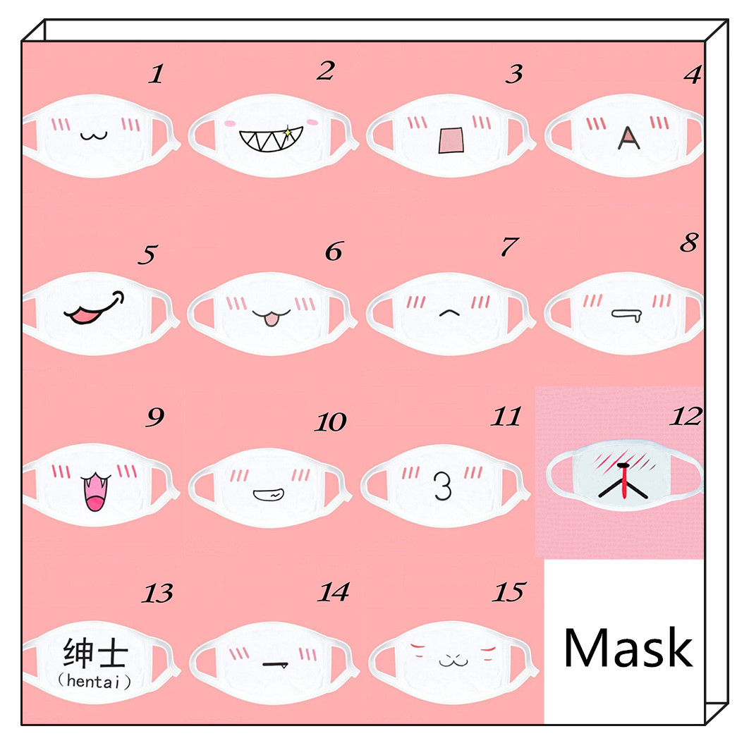 Hot 1PCS Kawaii Cute Unisex Women Men Anime Emotiction Mouth-muffle Kaomoji Anti-Dust Face Mask Safety Mouth Mask