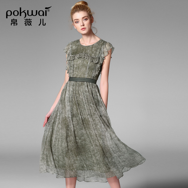 POKWAI Elegant Vintage Summer Silk Dress Women Fashion High Quality 2017  New Arrival Short Sleeve O-Neck Print A-Line Dresses