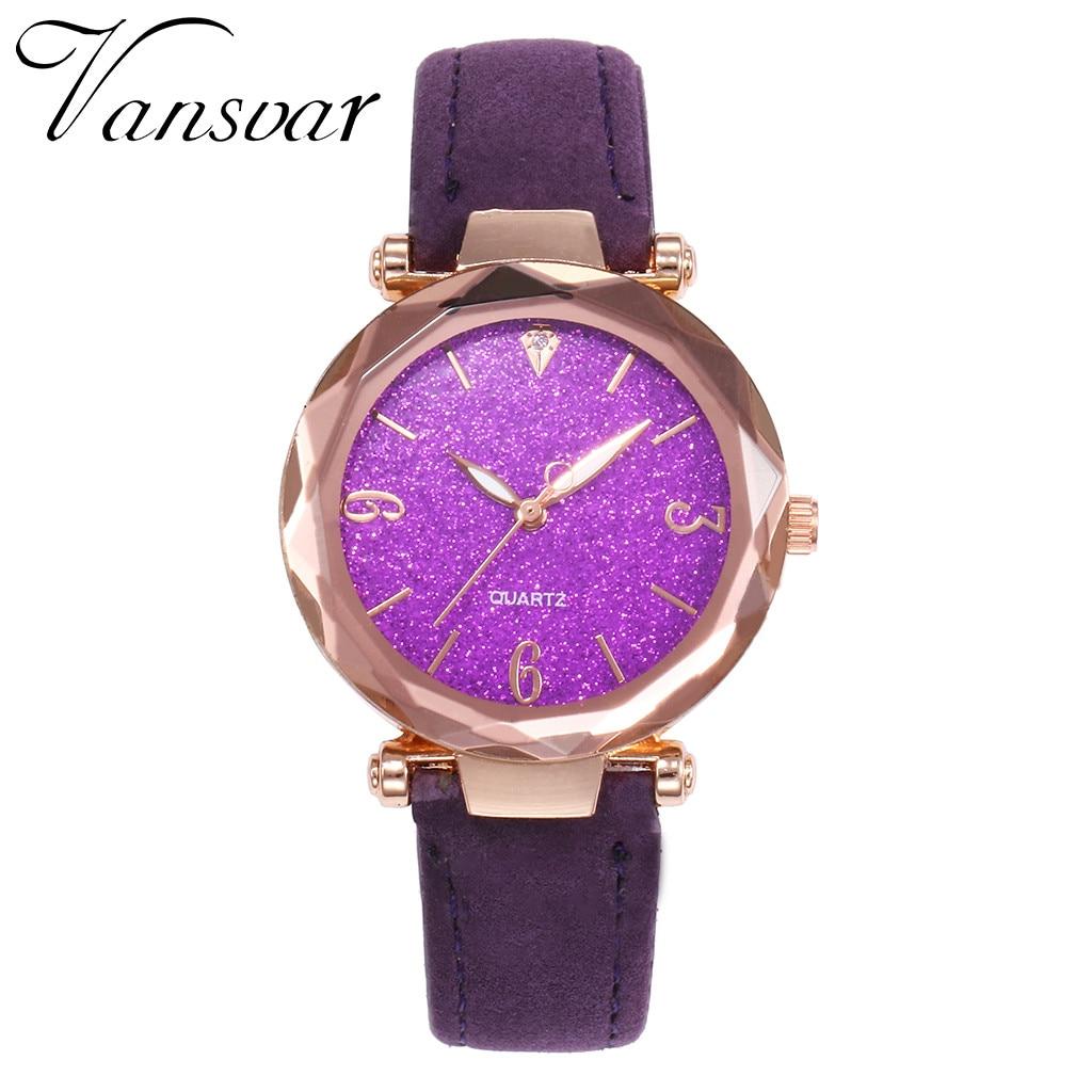 Vansvar Fashion Women's Casual Quartz Leather Band Starry Sky Watch Analog Wrist Watch Clock montre femme relogio feminino A10 1