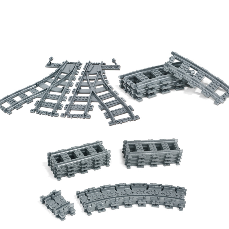 City Trains Train Flexible Track Rail Crossing Straight Curved Rails Building Blocks Bricks Kids Toys Compatible With Legoingly 20pcs lot city train track rail straight rails curved rails model building blocks diy figure toys for children compatible legoe