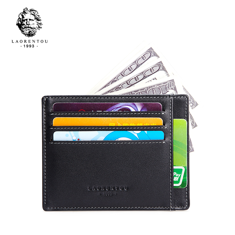 Laorentou Genuine Leather Men Wallet With Card Slot Soft Leather Fashion & New ID Card Holder Thin Credit Card Case Slim Purse never leather badge holder business card holder neck lanyards for id cards waterproof antimagnetic card sets school supplies