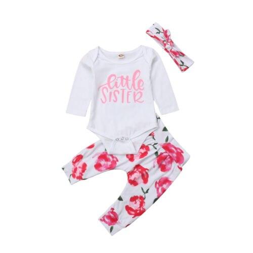 a3e602d36 3Pcs little sister Newborn Kid Baby Girls Clothing Rose Romper Tops Fancy  Pants Headbands 3pcs Outfits