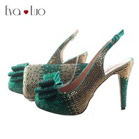 BS906 DHL Custom Made Green Gold Crystal Bow Shoes with Matching Bags Set  Slingbacks Dress Pumps 4f78425bdf91