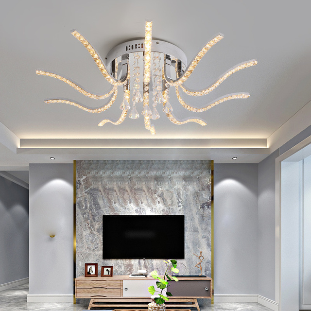 NEO Gleam Chrome Plated Finish Crystal RC Modern Led Ceiling Lights For Living Room Bedroom Sutdy Room Dimmable Ceiling Lamp