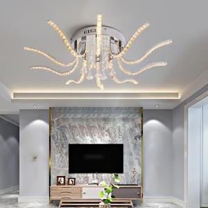 Image 1 - Neo brilho acabamento cromado cristal rc moderno led luzes de teto para sala estar quarto sutdy lâmpada do teto pode ser escurecido