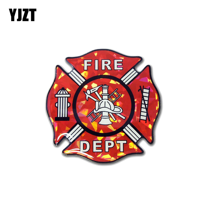 YJZT 11CM*11CM Firefighter Dept Car Sticker PVC Reflective Decal 12-0664