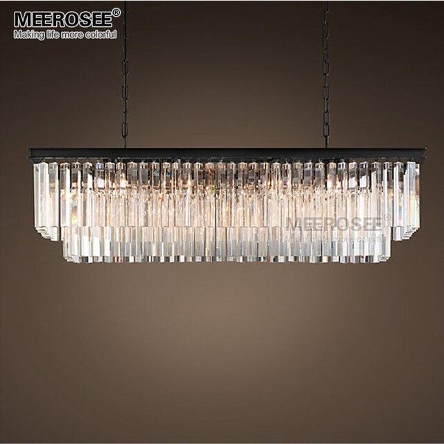 MEEROSEE Modern Pendant Light Fixture Rectangle Hanging Lamp Crystal Drop room Hotel