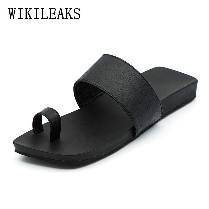 leather slippers men shoes flat sandals for men zapatos de los hombres zapatillas designer slides luxury brand beach flip flops