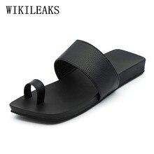 Leder hausschuhe männer schuhe flachen sandalen für männer zapatos de los hombres zapatillas designer rutschen luxus marke strand flip-flops