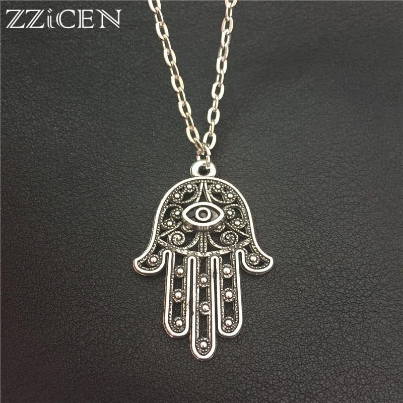 New Good Luck Protection Turkish Hamsa Symbol Fatima Hand Evil Eye Pendant Long 70cm Metal Chain Necklace Women Men Lucky Amulet|Pendant Necklaces| - AliExpress