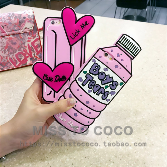 South Korean phone case pink beverage bottles popsicles for iphone6 6s 6plus creativity drop resistance silicone 5s woman
