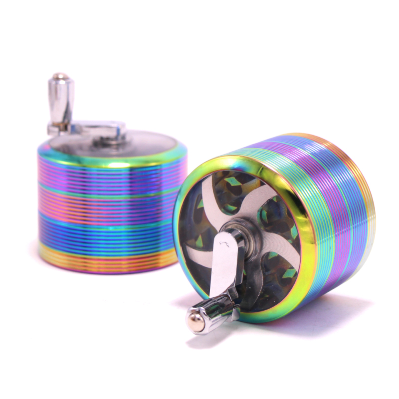 New large 63mm ice blue manual rocker stripe grinder, tobacco wire weed grinder, creative gift, free shipping