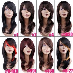 Image 5 - Amir longueur moyenne droite perruque synthétique pour les femmes naturel Ombre noir à rouge couleur cheveux avec frange résistant à la chaleur
