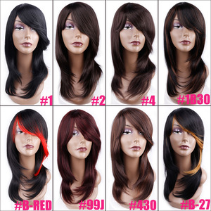 Image 5 - אמיר בינוני אורך ישר סינטטי פאה עבור נשים טבעי Ombre שחור כדי אדום צבע שיער עם פוני חום עמיד