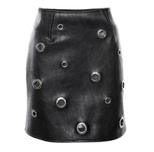 FFTAIQI new street fashion spring autumn woman package hip skirt leisure joker irregular metal punch PU slim women mini skirt