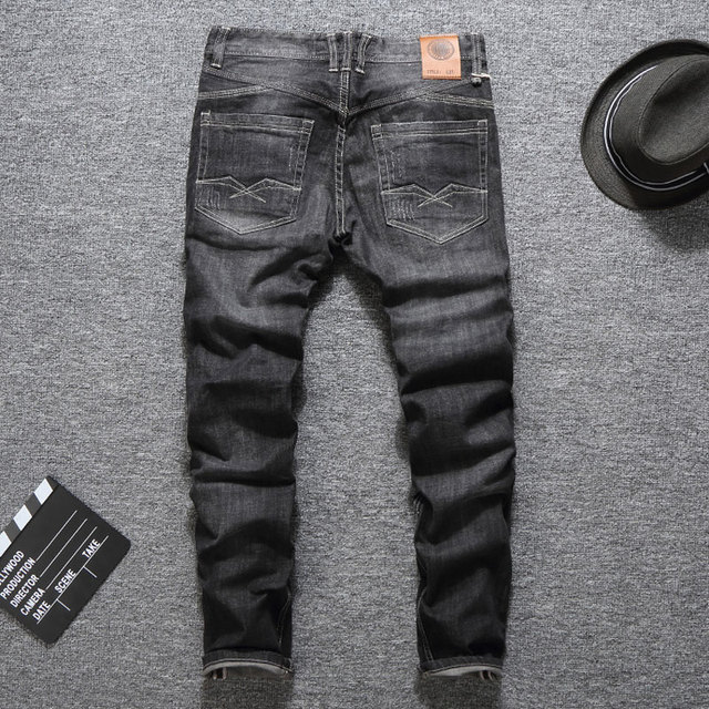 Black Color Fashion Buttons Jeans for Men 1