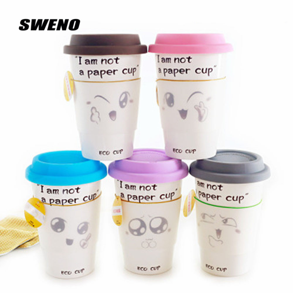 SWENO The New Paragraph Meng Cute Simple Ceramic Mug Drink Water Heat Proof Lovers Cup